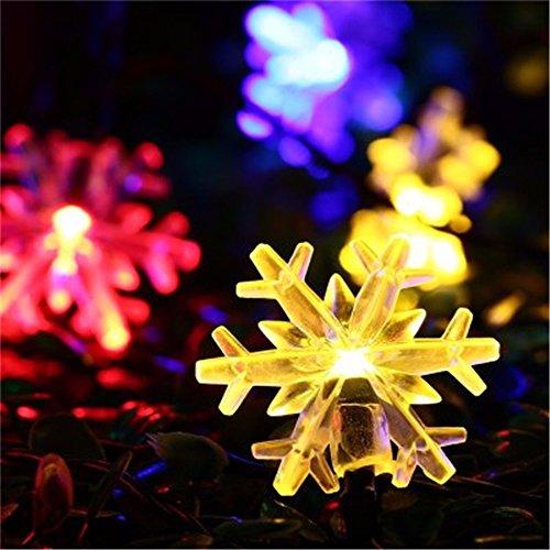 ODJOY-FAN 2 m 20 LED LED Schneeflocke Farbe Licht Weihnachten Laternenpfahl Draussen Zeichenfolge Licht Garten Schnee Kopf Fee Lampe Solar Energie String Light (Multicolor,1 PC)