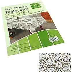 Atractiva y elegante de PVC mantel de vinilo/cubierta en encaje/crochet–en varios tamaño y forma (150x 225cm rectangular, ganchillo)