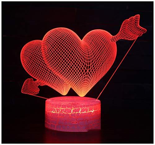 DUOMING 3D Nachtlicht, EIN Pfeil-Doppelherz-Fernsteuerungslicht kreatives Plug-in buntes Nachtlicht 3D führte...