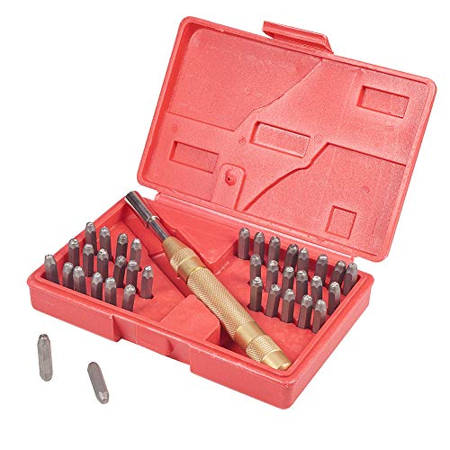 PandaHall Elite Eisen Schlagzahlen 0~9 und Schlagbuchstaben A~Z Schlagbuchstabensatz Schlagzahlensatz mit Griff für DIY Briefmarken Schnitzwerkzeuge 165x105x35mm -