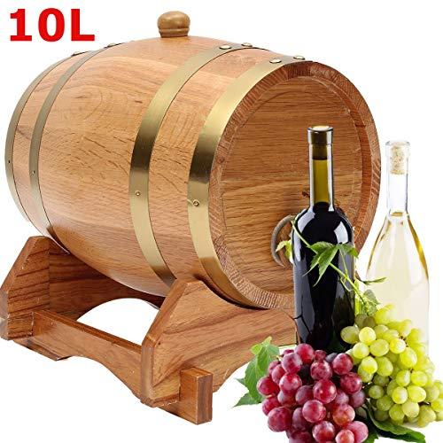 ZHENWOFC 10L Holz Eiche Timber Barrel Fass Wein Spirituosen Whisky Port Französisch geröstet mit Stand Holzfass Hardware-Ersatzteile