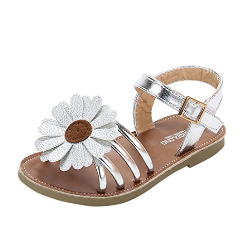 TONG Mädchen Outdoor Sandalen Kinder Sommer Schuhe Outdoor Trekkingsandalen Römische Sandalen Prinzessin Schuhe (CN 35, Silber) (Schuhe Römischen Sandalen)