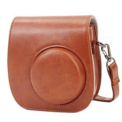 Leebotree Tasche für Fujifilm Instax Mini 8 8+/Mini 9 Sofortbildkamera aus Weichem Kunstleder mit Schulterriemen und Tasche (Brown)