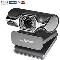 AUSDOM Webcam Streaming 1080P, Cámara Web professional para PC, Portátil con micrófono y trípode Web Cam de USB Plug and Play para Windows Mac Transmisión en Vivo en Twitch y YouTube …