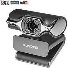 AUSDOM Webcam 620 Pro Stream Webcam 1080P Full HD avec Microphone Intégré, Caméra Web pour Chat Vidéo et Enregistrement avec USB Plug and Play Compatible avec Windows, Mac