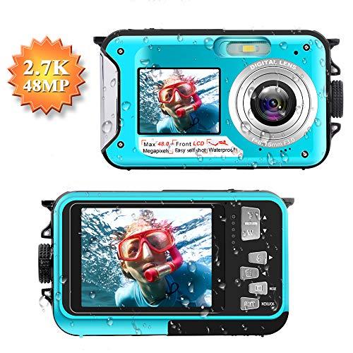 Appareil Photo Etanche Full HD 2.7K Camescope Numerique 48 MP Enregistreur Vidéo Selfie Caméscope Double écran DV Enregistrement Appareil Photo Numérique