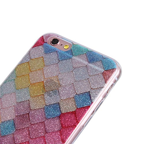 iphone 6 Plus/ 6S Plus Hülle,iphone 6 Plus/ 6S Plus TPU Glitzer-Hülle – Cozy Hut iphone 6 Plus/ 6S Plus Schutzhülle Case Silikon- Bling Shining Crystal Ultra Dünn Durchsichtige Backcover Handyhülle Sc Farbige Diamanten