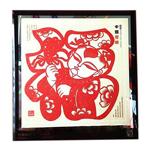 Chinesische Volkskunst von Papier geschnitten Bilderrahmen Dekoration Geschenk große bunte Scrapbooking Papier Blessing Baby (Volkskunst Geschenk)