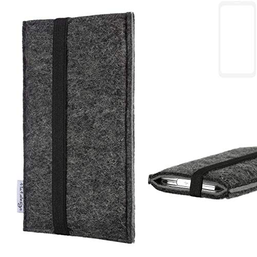 flat.design Handyhülle Lagoa für Vestel V3 5580 Dual-SIM | Farbe: anthrazit/grau | Smartphone-Tasche aus Filz | Handy Schutzhülle| Handytasche Made in Germany