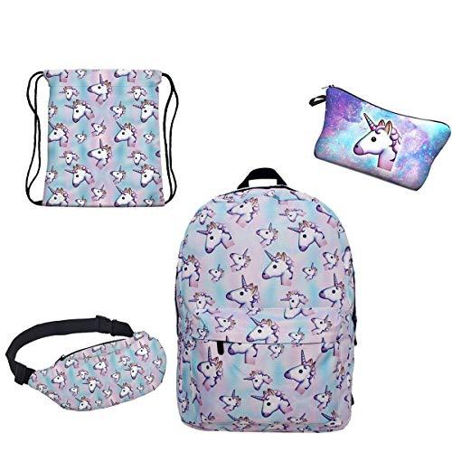 Zaino unicorno per ragazze adolescenti giddah fashion colorato scuola unicorno delle ragazze zaini per bambini 4pz/set
