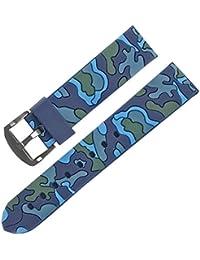 22mm Azul Correa de reloj banda de goma de camuflaje del ejército militar reloj de repuesto
