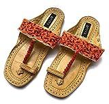 Enhara oranje sandalen Boho Kolhapuri Chappals met Pom Pom ballen/lederen sandalen voor vrouwen/handgemaakte sandalen/etnische Indiase flip flops