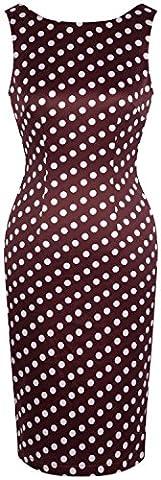 Angel fashions Damen 1950er Jahre Audrey Hepburn Jahrgang Rockabilly Polka Körper Con Kleid (S, Braun)
