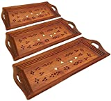 #8: SKAVIJ Wooden Tray Serving Set of 3 for Kitchen Coffee and Dining Table