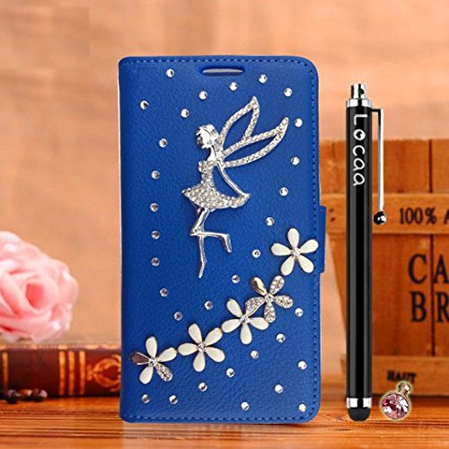 Locaa(TM) Pour Apple IPhone 6 IPhone6 4.7 inch 3D Bling Case Coque Étui Cadeaux Fait Cuir Qualité Housse Chocs Couverture Protection Cover Shell Etui Romantique [Couleur 1] Rose - Fleur ange Bleu - Fleur ange