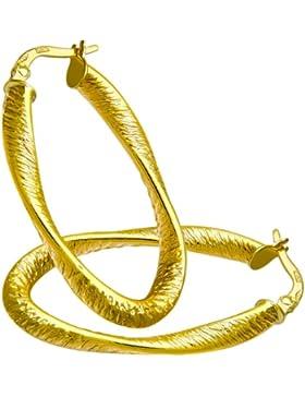 Citerna Damen-Ohrhänger Creolen 9 Karat Diamantschliff oval gedrehte 375 Gelbgold RIL1322Y