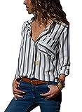 AitosuLa Bluse Gestreift Damen Hemd Oberteile V-Ausschnitt Lose Casual Chiffon Langarm T-Shirt Top Tunika Elegant Langarmshirt Z Grau Weiß M