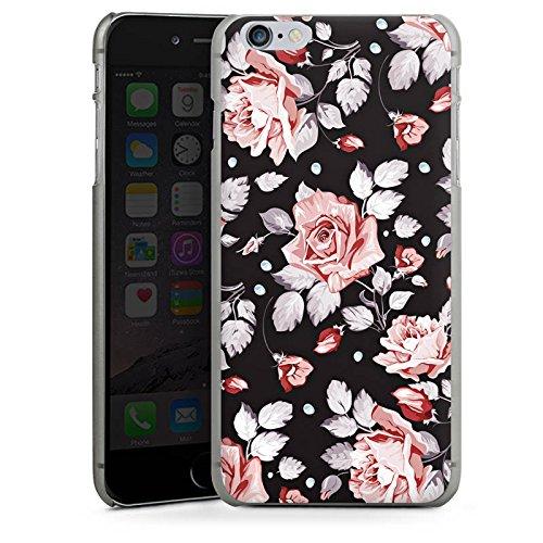 Apple iPhone 6 Tasche Hülle Flip Case Rosen Blumen Muster Hard Case anthrazit-klar
