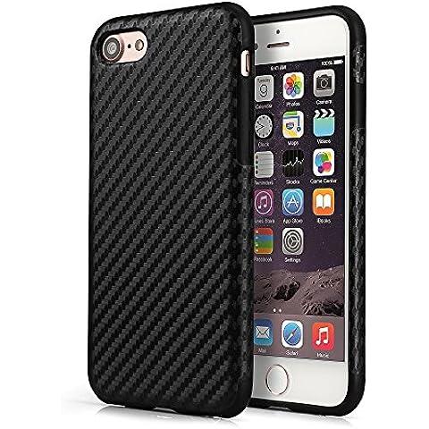 PhoneStar Casos iPhone 7 Design TPU Carbono concha Case – negro