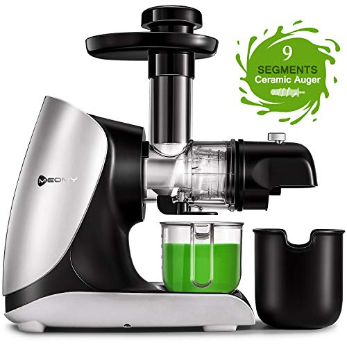 Entsafter Slow Juicer, MEOMY BPA Frei Entsafter Gemuese und Obst mit Rücklauffunktion & Ruhiger Motor & Saftkanne & Reinigungsbürste