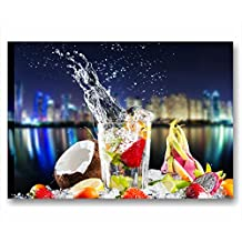 Fresh cocktail night 1 - Quadro moderno intelaiato 70x50 cm tela stampa quadri moderni skyline frutta esotica cocco lime fragole aperitivo gin mojito vodka arredamento lounge bar ristorante pizzeria casa cucina pub wall art forniture canvas home decor arredo camera letto studio salotto ufficio hotel