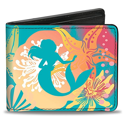 Buckle Down Herren Ariel Pose Silhouette/Shells & Sea Flowers Collage2 Zweifalten-Geldbörse, mehrfarbig, Standardgröße -