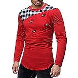 T Shirt für Herren, langärmlig, langärmlig, schöne Sweatshirts, Hemd mit Rundhalsausschnitt, Herbst und Winter 2018, rot
