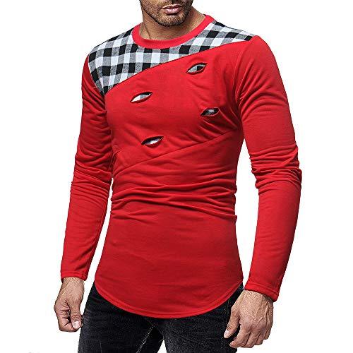SANFASHION Herren Sweatshirts Lange Ärmel Pullover Kratzer Loch Spleißen Casual Anzüge Shirts Bluse Top