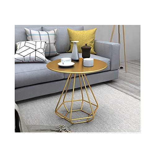 JUN Nordic Wohnzimmer Esstisch runder Beistelltisch Couchtisch einfache Moderne Verhandlung Balkon kleinen runden Tisch Couchtisch (Color : Gold)