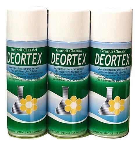 Rampi Deodorante Spray salvatessuti mangiaodori Deo Igientex i Grandi Classici Laundry Home Professional igienizzante Interni (per Tessuti, Tende, Scarpe, Auto ECC.) 400 ml (Tris Deortex)