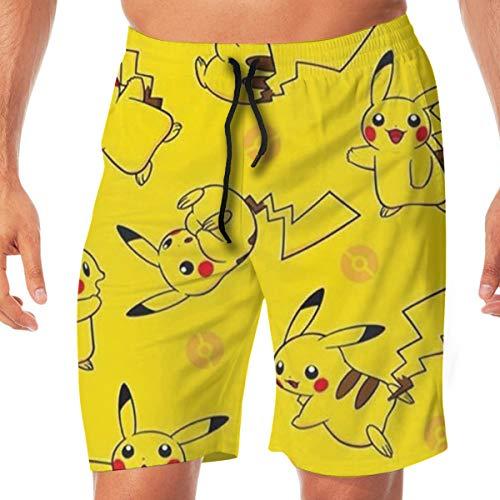 DailiH Badehose Cute Pokemon - Pikachu Quick Dry Beach Boardshorts Badeanzug Mit Seitentaschen Für Jugend/MÄNNER/Jugendliche Teen Boys (Teen Boys Cute)
