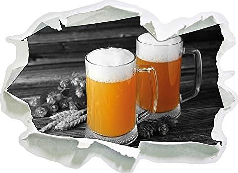 Deux verres de bière Hefeweizen avec hop sur la table en bois noir blanc, taille d'autocollant / mur 3D de papier: 62x45 cm décoration murale 3D Stickers muraux Stickers