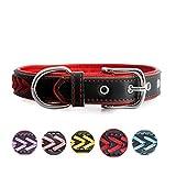 7Morning Leder Hundehalsband Hundemarke mit Personalisiert Edelstahlplatte,Rot,M