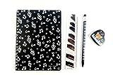 Musique thématiques Noir Notes de musique cahier, crayon mécanique, 15cm Règle et Eraser Ensemble de papeterie