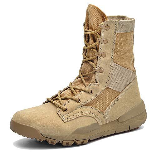 LIUYL Männer Tactical Military Boot Desert Hiking Martin Stiefel Sommer atmungsaktiv High-Top Schnürschuh Trekking Combat Boots,Beige-44 Tactical Military Boots
