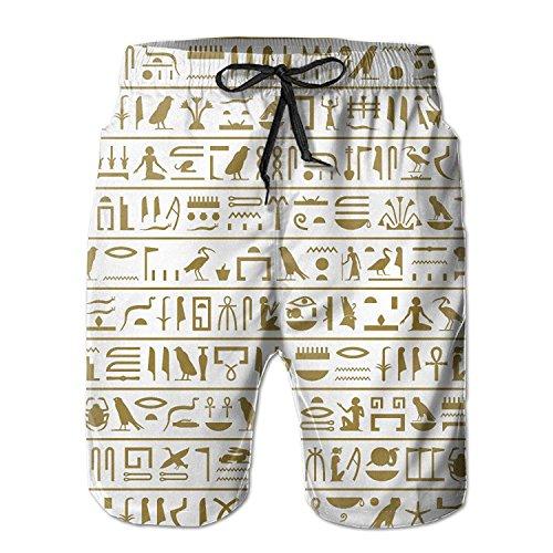 aacd6e27569682 guolinadeou Egyptian Seamless Pattern Men's/Boys Casual Swim Trunks Short  Elastic Waist Beach Pants with