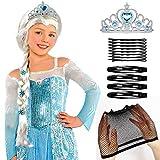Tacobear Frozen Elsa Peluca Trenza con Princesa Elsa Corona Princesa Elsa Frozen Disfraz Accesorios para niñas
