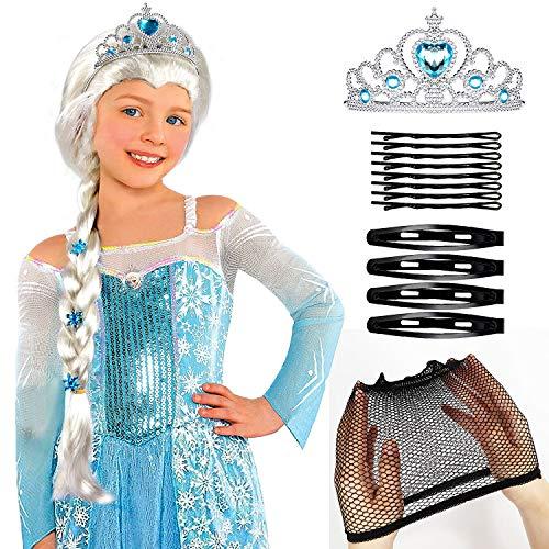 Und Perücke Kostüm Elsa - Tacobear Prinzessin ELSA Zopf mit ELSA Krone Eiskönigin ELSA Kostüm Zubehör für Kinder Mädchen