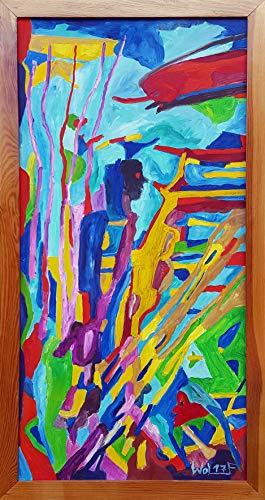 Jörg Wolf Malerei Original Öl auf Leinwand aufhängbar - signiert und fixiert -79x41 cm Deko Acrylbild abstrakt modern figürlich Kunst Wandbild für Schlafzimmer, Wohnzimmer, Wohnung, Flur, Küche -