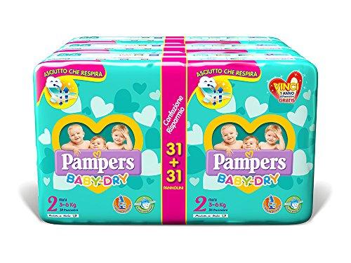 Pampers Baby Dry Duo Mini, 186 Pannolini, Taglia 2 (3-6 kg)