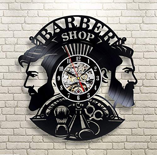 Knncch Friseur Wanduhr Modernes Design Barbershop Schallplatte Uhren Friseur Wanduhr Wand-Dekor Für Friseur Salon