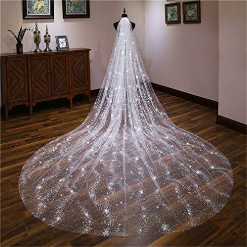 DROHE-Q Brautschleier Leichter Luxus Leuchtenden Lange Groß Nachlaufen Hochzeitskleid Zubehör Kopfbedeckung Parteien Cremeweiß 3m