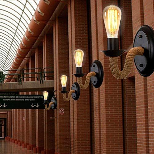 W-LI Vintage Industrial Disign Lampe Wandlampe Metall Hanfseil Beleuchtung Wandlampe E27 Interieur Dekorative Direktbeleuchtung für Nachttischlampe Flur Lampe Balkon Loft Bar Max.40W -