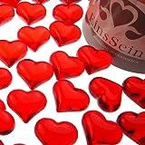 EinsSein 30x Dekosteine Funkelnde Herzen 22mm rot Dekoration Streudeko Konfetti Tischdeko Hochzeit Hochzeit Konfetti Diamanten Diamant Glas groß