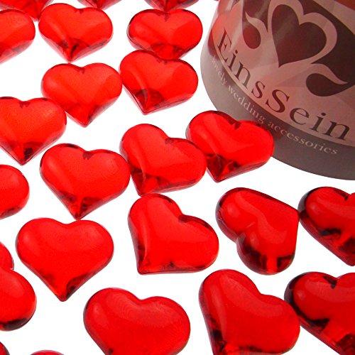 EinsSein ca. 95x Dekosteine Funkelnde Herzen 22mm rot Dekoration Streudeko Konfetti Tischdeko Hochzeit Diamanten Diamant Glas groß Geburtstag Rote Gläser