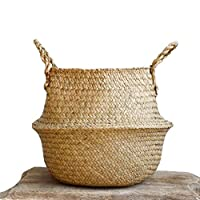 WOVELOT Woven Seagrass Basket, Woven Seagrass Tote Belly Basket for Storage, Laundry, Picnic, Plant Pot Cover & Beach Bag