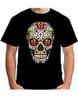 Velocitee Mens T-Shirt Tattoo Skull W16553