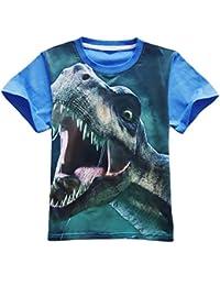 Ocama Camiseta de manga corta para niño, cuello redondo, estampado de dinosaurio, Picture Color 1, 130 cm