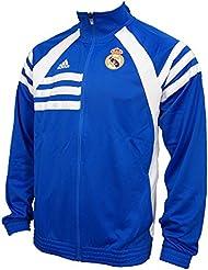 Adidas real madrid Chaqueta Air Force Blue/ White D80311 - ***Es algo más grande, mejor un número pequeño de lo habitual***, European Soccer League, hombre, color - azul, tamaño M