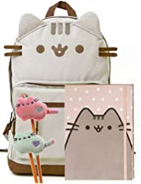 Pusheen The Cat Back To School Set - Pusheen Cat Face Backpack, Pusheen Polka Dot Notebook And Two Plush Pencil...